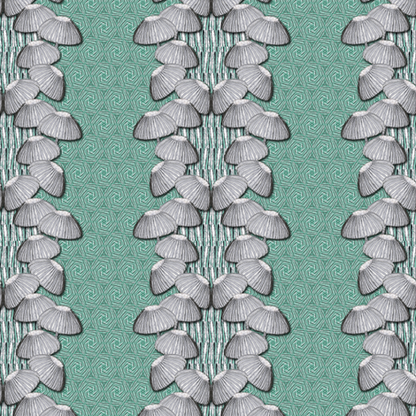 mushrooms on green fabric by susiprint on Spoonflower - custom fabric