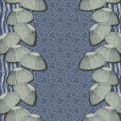 Mushrooms on blue