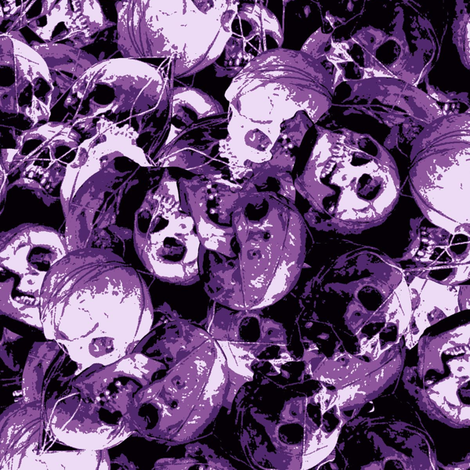 Skulls violet  fabric by susiprint on Spoonflower - custom fabric