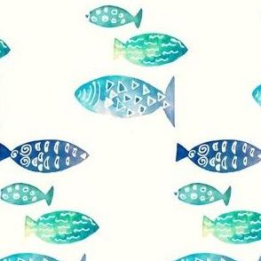 Blue fish in watercolor