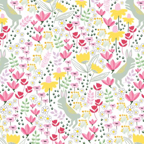 Garden bunny rabbits - medium fabric by thislittlestreet on Spoonflower - custom fabric