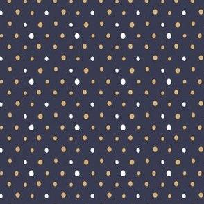 Modern Mustard Navy Polka Dots
