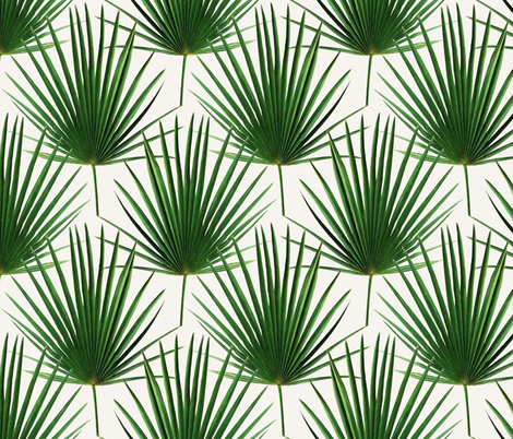 Simple Palm Leaf Geometry Green And Cream Small Print Fabric By Micklyn On Spoonflower