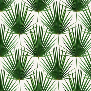 Simple Palm Leaf Geometry green and cream small print