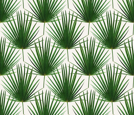 Simple Palm Leaf Geometry green and cream large print fabric by micklyn on Spoonflower - custom fabric