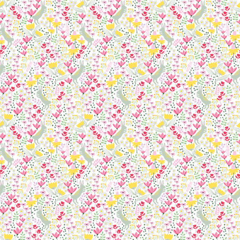 Garden bunny rabbits - TINY fabric by thislittlestreet on Spoonflower - custom fabric