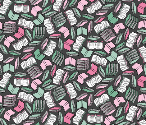 So Many Books... (Pink and Mint) fabric by robyriker on Spoonflower - custom fabric