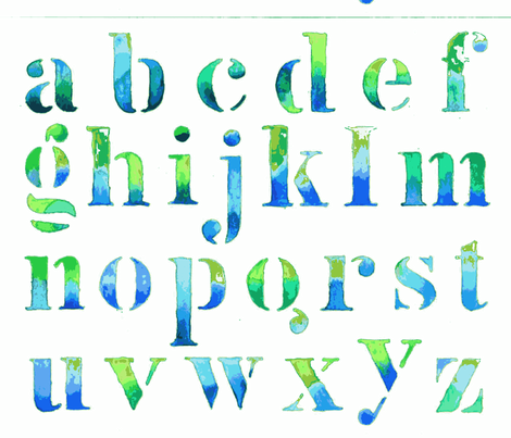 Alphabet watercolor-ch-ed fabric by lisaloveart on Spoonflower - custom fabric