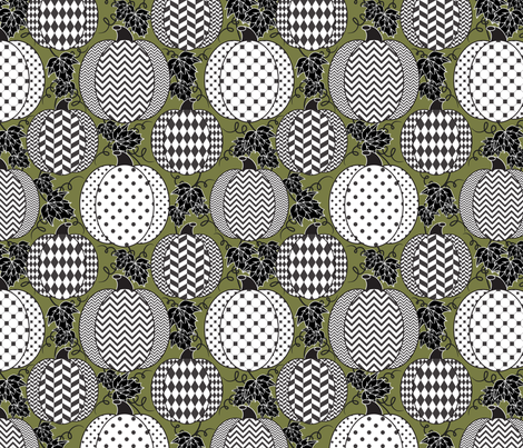 Pumpkin Fest (loden) fabric by jjtrends on Spoonflower - custom fabric