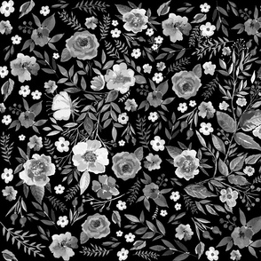 Vintage Floral Black and White Floral Prints
