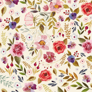 Autumn Fall vintage floral wildflowers Floral on Cream Background