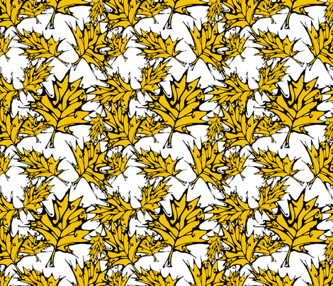 Yellow Maple Leaves (small) fabric by art_rat on Spoonflower - custom fabric