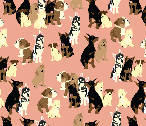 Puppy-Party in Pink fabric by vieiragirl on Spoonflower - custom fabric
