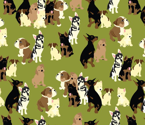 Puppy Party in Moss fabric by vieiragirl on Spoonflower - custom fabric