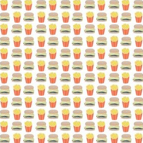 burger and fries fabric // hamburger cheeseburger french fries fries fast food junk food novelty food print