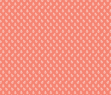 Anchors - Coral fabric by khubbs on Spoonflower - custom fabric