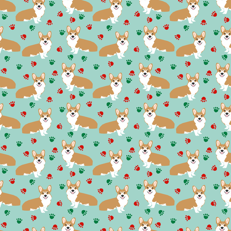 christmas corgi paws cute corgis best corgi fabric cute corgi colors red and green christmas fabric - Why Are Red And Green Christmas Colors