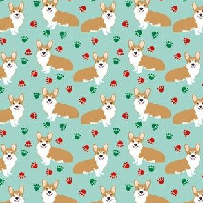christmas corgi paws cute corgis best corgi fabric cute corgi colors red and green christmas
