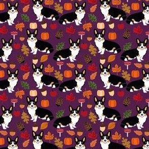 corgi autumn leaves fall pumpkin pinecones acorn autumns corgis dog breed fabric tri colored black and tan corgi