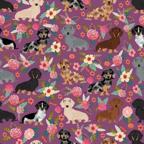 dachshund florals cute purple flowers vintage florals best dachshund doxie fabric