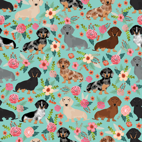 doxie dachshunds florals cute dog fabric best dog designs ...