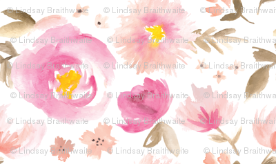 Peony Garden in Pink Watercolor Floral