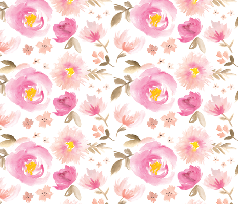 Peony Garden in Pink Watercolor Floral fabric by sugarfresh on Spoonflower - custom fabric