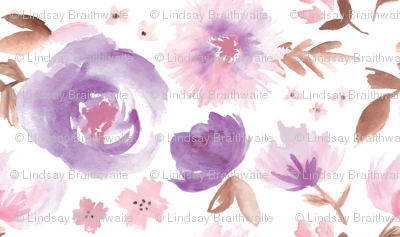 Peony Garden in Violet Watercolor Floral
