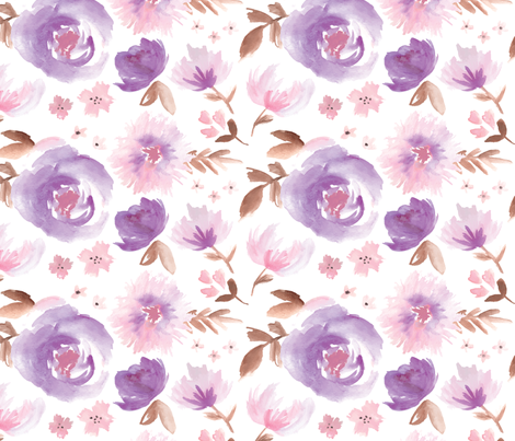 Peony Garden in Violet Watercolor Floral fabric by sugarfresh on Spoonflower - custom fabric