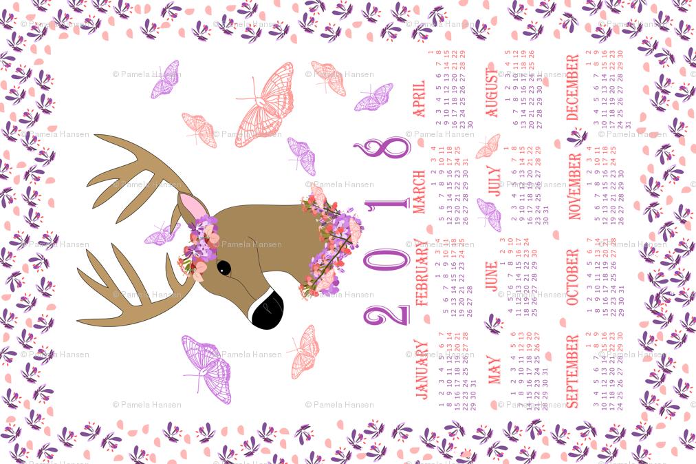 2018 Calendar Deer and Butterflies wallpaper   pamelachi   Spoonflower
