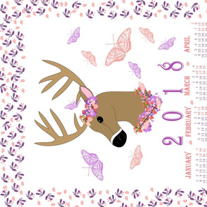 2018 Calendar Deer and Butterflies