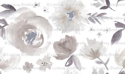 Peony Garden in Blue Gray Watercolor Floral