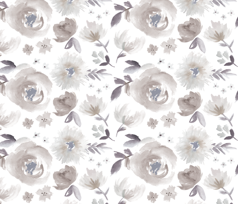 Peony Garden in Blue Gray Watercolor Floral fabric by sugarfresh on Spoonflower - custom fabric