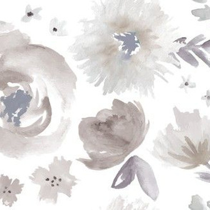 Peony Garden in Blue Gray Watercolor Floral