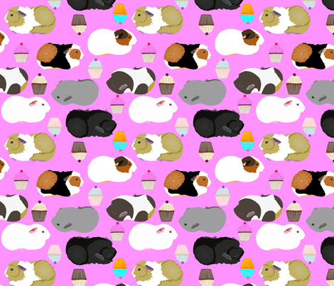 Guinea Pigs and Cupcakes fabric by emilyrosethomson on Spoonflower - custom fabric