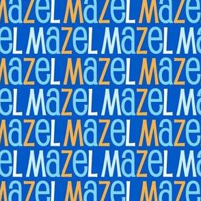 Mazel Tov Blue Letters on Blue Background