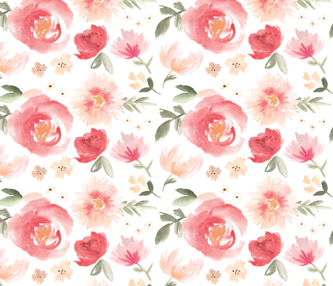 Peony Garden in Peach Watercolor Floral fabric by sugarfresh on Spoonflower - custom fabric