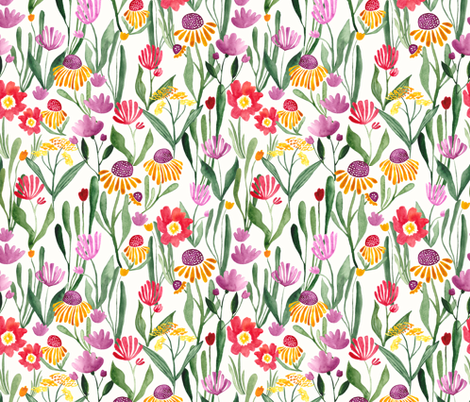 Watercolor flower field in white - BIG fabric by thislittlestreet on Spoonflower - custom fabric