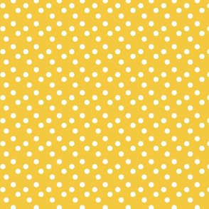 Polka dots in white on yellow - SMALL
