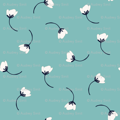 Tumbling flowers  in teal