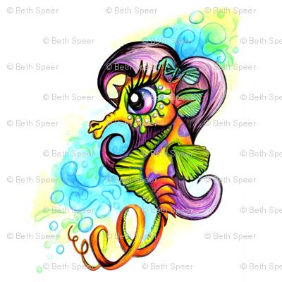 Girly Sea Horse Illustration