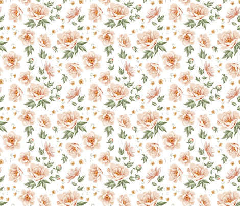 Rose Vintage Light Pink Roses fabric by khaus on Spoonflower - custom fabric