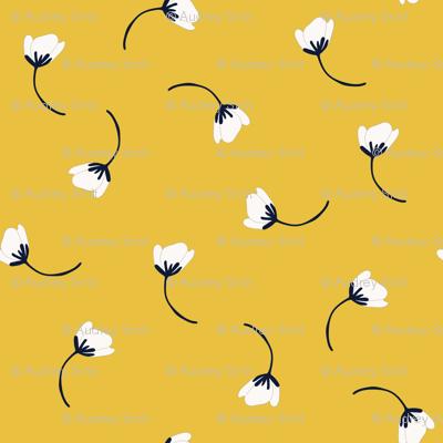 Tumbling flowers in mustard yellow