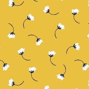 Tumbling flowers in mustard yellow