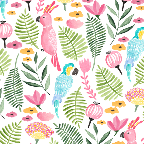 Summer tropical parrots fabric by thislittlestreet on Spoonflower - custom fabric