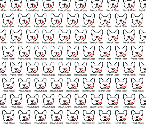 French Bulldog kisses - pucker up,  Frenchie dog love! fabric by cheeky~hodgepodge on Spoonflower - custom fabric