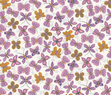 Pink Mustard Butterflies fabric by zoe_ingram on Spoonflower - custom fabric