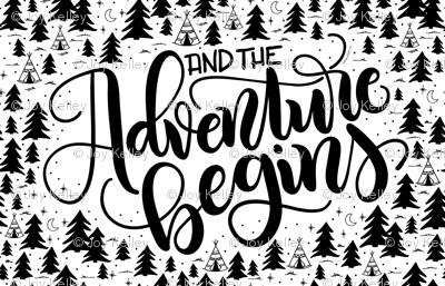 "And the adventure begins - (56x36"") 1 yard set up - Minky - Fleece - Organic cotton"