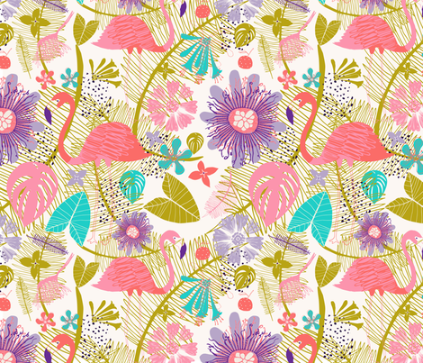 Florida Flamingo fabric by zoe_ingram on Spoonflower - custom fabric