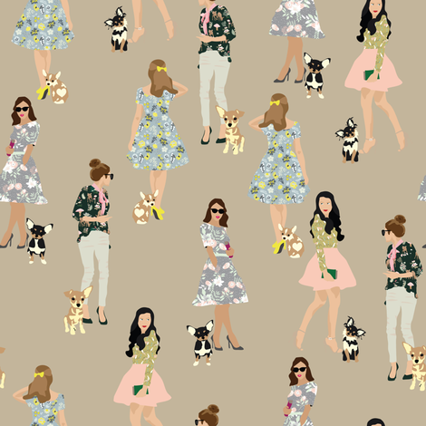 Girls with their chihuahuas 2 fabric by vieiragirl on Spoonflower - custom fabric